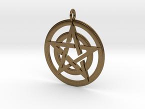 Pentacle Pendant - Circles in Natural Bronze