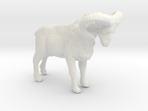 HO Scale (1:87) Bighorn Sheep Ram in White Natural Versatile Plastic