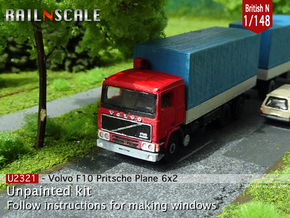 Volvo F10 6x2 Flatbed with tarpaulin (N 1:148) in Smooth Fine Detail Plastic
