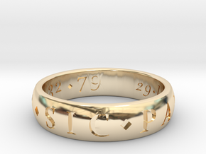 Sir Francis Drake Sic Parvis Magna Ring, Size US12 in 14K Yellow Gold
