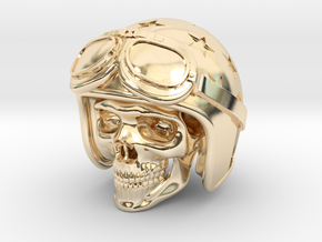Easy Rider Skull (50mm H) in 14K Yellow Gold