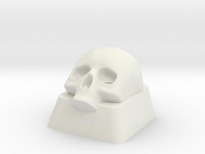 Skull Key cap Alps mount in White Natural Versatile Plastic