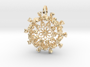 FLOWER NUGGET CLUSTER PENDANT in 14k Gold Plated Brass