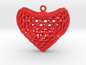 Sine Surface Heart Earring (002) in Red Processed Versatile Plastic