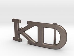 Custom Monogram Belt Buckle - KD in Polished Bronzed-Silver Steel