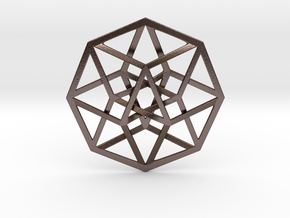 4D Hypercube (Tesseract) in Polished Bronze Steel