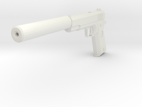 M1911 with Silencer Replica in White Natural Versatile Plastic