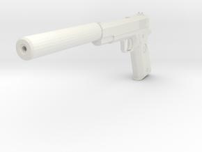 M1911 with Silencer Replica in White Natural Versatile Plastic
