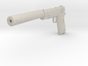 M1911 with Silencer Replica in Natural Sandstone