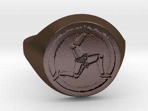Ile of Man Ring in Polished Bronze Steel: Medium