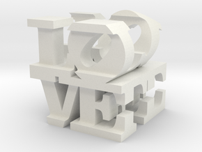 "love/life - small (1"") in White Natural Versatile Plastic"