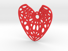 Elliptic Hyperboloid Heart Earring (001) in Red Processed Versatile Plastic