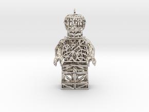 Los Muertos Suger Skull Lego Man Pendent in Platinum