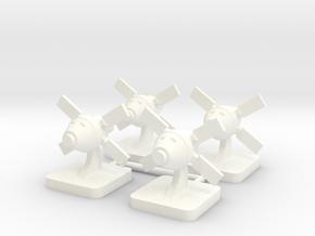 Mini Space Program, Crew Spacecraft, 4-set in White Processed Versatile Plastic
