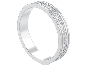 Channel ring with diamonds in 14k White Gold