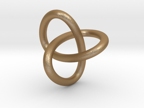 Classic Trefoil Knot 30mm in Matte Gold Steel