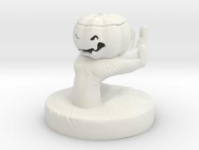 zombie hand holding Jack O'Lantern in White Natural Versatile Plastic