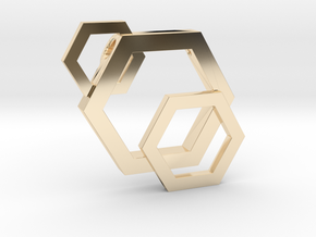 Staggered Honeycomb Pendant by BeeLove  in 14k Gold Plated Brass