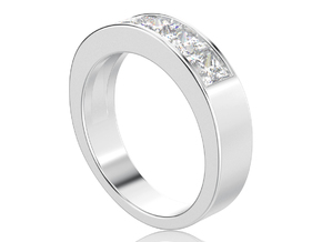 Channel ring with 5 princess cut gems in Polished Silver