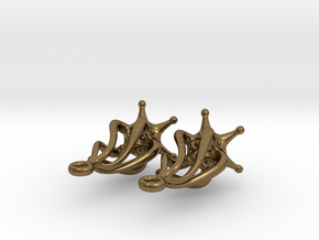 Twirldrop3 Silver Earrings in Natural Bronze