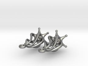Twirldrop3 Silver Earrings in Raw Silver
