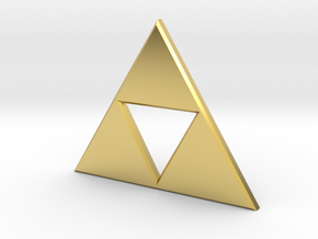Zelda Triforce Pendant in Polished Brass
