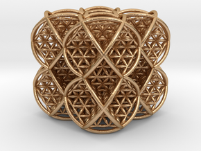 Cube of Life 2 x 2 x 2  in Natural Bronze