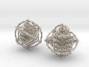 """Twisted Ball of Life Pair 1.8""""  in Rhodium Plated Brass"""