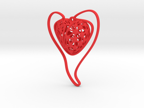 Voronoi Heart + Heart Earring (001) in Red Processed Versatile Plastic