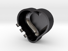 Rounded Heart Box in Polished Grey Steel