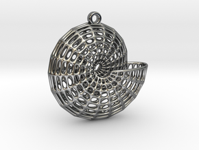 Voronoi Shell Pendant (001) in Fine Detail Polished Silver
