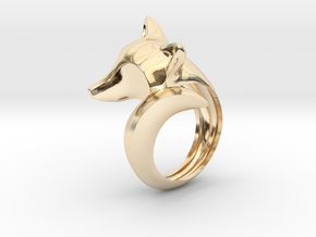 Stylish decorative fox ring in 14k Gold Plated Brass