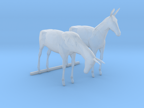 O Scale Mules in Smooth Fine Detail Plastic