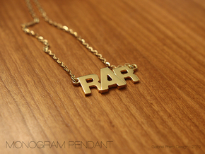 Monogram Pendant RRA in 14k Gold Plated Brass