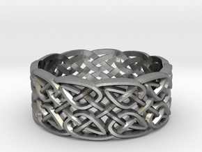 Two-Leaf Celtic Knot Ring in Natural Silver: 7 / 54