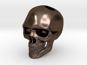 Realistic Human Skull (20mm H) - Pendant in Polished Bronze Steel