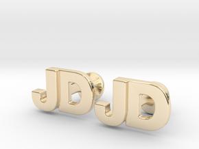 Monogram Cufflinks JD in 14k Gold Plated Brass