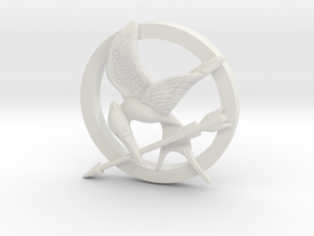 Mocking Jay Pendant in White Strong & Flexible
