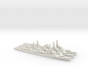 Japanese Shiratsuyu-Class Destroyer (x3) in White Natural Versatile Plastic