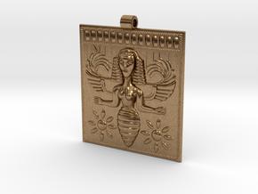 Etruscan Bee Goddess Pendant in Natural Brass
