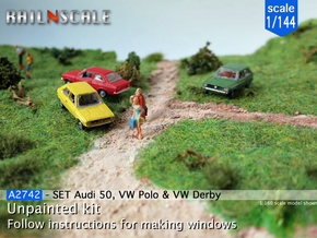 SET Audi 50, VW Polo & VW Derby (1/144) in Smooth Fine Detail Plastic