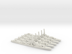 British J/K/N-Class Destroyer (x5) in White Natural Versatile Plastic