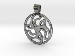 Flower and teeth triskell [pendant] in Polished Silver