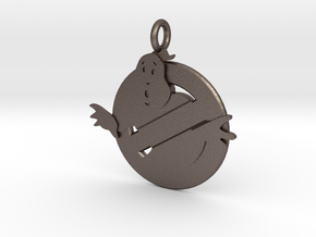 """Pendant-Ghostbusters """"No Ghost"""" in Polished Bronzed-Silver Steel"""