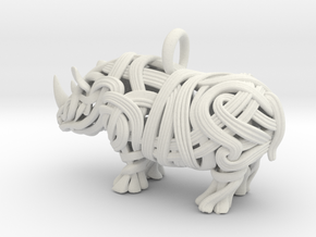 The Rhino Pendant  in White Natural Versatile Plastic