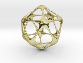 Icosahedron Pendant - Platonic Solids in 18k Gold Plated Brass