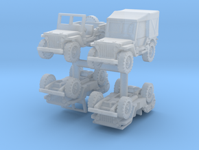 Jeep Willys set (x4) 1/200 in Smooth Fine Detail Plastic