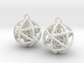 "Flower of Life Planetary Merkaba Earrings 1"" in White Natural Versatile Plastic"