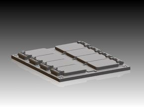 4 x VLS Launcher 8 Cell Segment 1/350 in Smooth Fine Detail Plastic