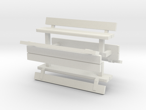 1:76th park benches in White Natural Versatile Plastic